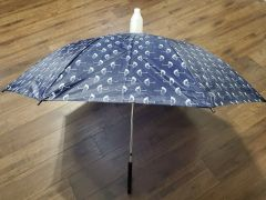 Dark Blue with Umbrella Pattern No-Drip Umbrella