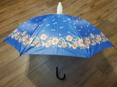 Blue and Pink Floral No-Drip Umbrella