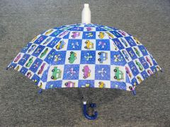 Children's Blue No-Drip Umbrella - Cars and Trucks