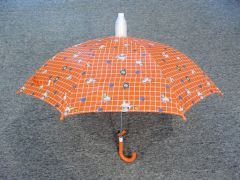 Children's Orange No-Drip umbrella with Dogs and alarm clocks