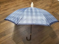 Blue Plaid Design No-Drip Umbrella