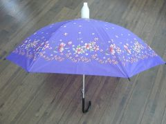 Purple, Red, Green and White Floral No-Drip Umbrella